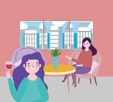 restaurante ou café de distanciamento social, mulher com copo de vinho e menina sentada à mesa, covid 19 coronavírus, nova vida normal vetor