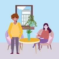 restaurante ou café de distanciamento social, mulher e homem mantêm distância, covid 19 coronavírus, nova vida normal vetor