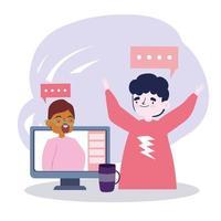 festa online, encontrar amigos, chat de pessoas por vídeo através da tecnologia da internet vetor