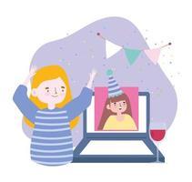 festa online, reunião de amigos, mulheres conversando com videochamada no laptop, celebração de feliz aniversário vetor