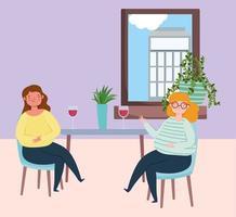 restaurante ou café de distanciamento social, mulheres jovens com vinho de vidro mantêm distância, covid 19 coronavírus, nova vida normal vetor
