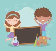 volta às aulas, aluno menino e menina tubo de ensaio de quadro negro e paleta de cores desenho educacional vetor