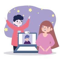 festa online, reunião de amigos, casal comemorando com homem em vídeo no laptop vetor