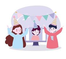 festa online, reunião de amigos, casal e homem em vídeo de comemoração de aniversário vetor