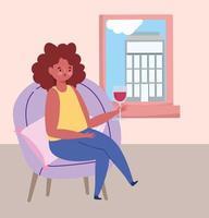 restaurante ou café de distanciamento social, mulher sozinha com vinho de vidro, covid 19 coronavirus, nova vida normal vetor