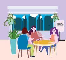 restaurante ou café de distanciamento social, grupo de mulheres com vinho de vidro na mesa, coronavírus covid 19, nova vida normal vetor