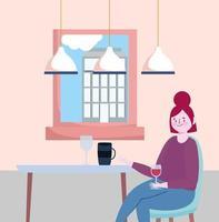 restaurante ou café de distanciamento social, jovem mulher sentada com uma taça de vinho sozinha, covid 19 coronavírus, nova vida normal vetor
