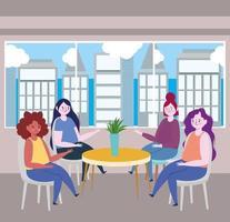 restaurante ou café de distanciamento social, mulheres sentadas à mesa mantêm distância, covid 19 coronavírus, nova vida normal vetor