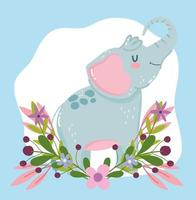 animal fofo elefante flores folhagem natureza decoração desenho animado