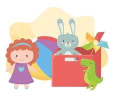 Objeto de brinquedos infantis caixa vermelha divertida de desenho animado com bola de dinossauro e boneca cata-vento vetor