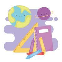 de volta às aulas, caderno lápis de cor governante e planetas educação desenho animado vetor