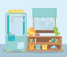 objetos de brinquedos infantis divertidos desenho animado pelúcia selecionador máquina prateleira quarto bola carro dinossauro livros caixas carro e janela vetor