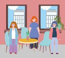 restaurante ou café de distanciamento social, mulher mantendo distância, covid 19 coronavírus, nova vida normal vetor