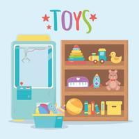 objetos de brinquedos infantis divertidos desenho animado com caixa de pelúcia prateleira de madeira vetor