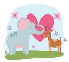 animais fofos elefante e rena flores corações amor adorável desenho selvagem