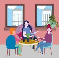 restaurante ou café de distanciamento social, pessoas conversando à mesa mantêm distância, covid 19 coronavírus, nova vida normal vetor