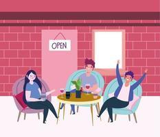 restaurante ou café de distanciamento social, pessoas com vinho de vidro e xícara de café na mesa, coronavírus covid 19, nova vida normal vetor
