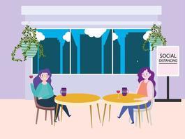 restaurante ou café de distanciamento social, duas mulheres solteiras com xícaras de café mantêm distância nas mesas, covid 19 coronavírus, nova vida normal vetor