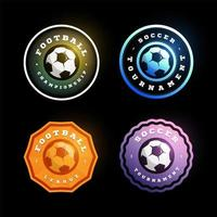 conjunto de logotipo de vetor circular futebol futebol