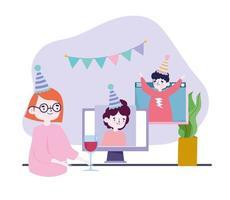 festa online, encontrar amigos, pessoas comemorando aniversário em videochamada, mantenha distância vetor