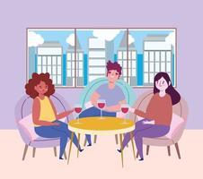 restaurante ou café de distanciamento social, pessoas comemorando com vinho de vidro, covid 19 coronavírus, nova vida normal vetor