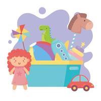 objetos de brinquedos infantis divertido desenho animado balde cheio bola avião cavalo dinossauro boneca e carro vetor