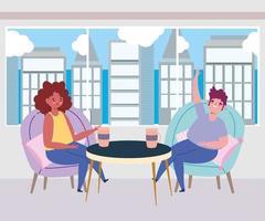 restaurante ou café de distanciamento social, homem e mulher com uma xícara de café mantêm distância, covid 19 coronavírus, nova vida normal vetor