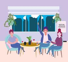 restaurante ou café de distanciamento social, casal e homem mantêm distância à mesa, covid 19 coronavírus, nova vida normal vetor
