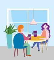 restaurante ou café de distanciamento social, casal tomando café, covid 19 coronavirus, nova vida normal vetor