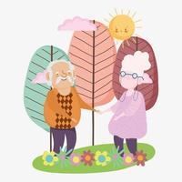 feliz dia dos avós, vovô e vovó em pé juntos paisagem flores árvores desenho animado vetor