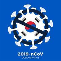 Coréia do Sul sinal de bandeira cautela coronavírus vetor