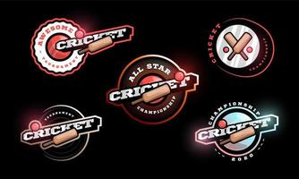 conjunto de logotipo de vetor de críquete