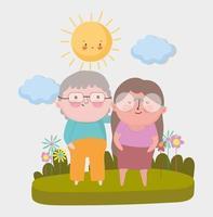 feliz dia dos avós, casal de idosos em pé grama flores paisagem desenho animado vetor