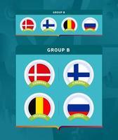 Conjunto de crachá do grupo b da fase final do torneio de futebol 2020 vetor
