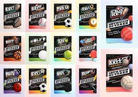 folheto esportivo mega conjunto de anúncios