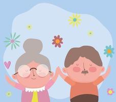 feliz dia dos avós, casal de idosos engraçado com desenho de flores vetor