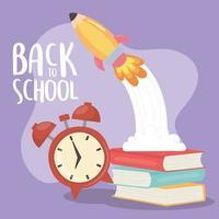 volta às aulas, livros despertador e desenho animado foguete educacional vetor