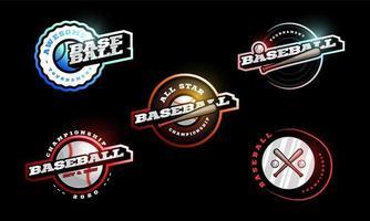 conjunto de logotipo de vetor de beisebol