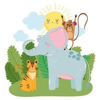 elefante fofo macaco e grama tigre arbustos natureza selvagem desenho animado vetor