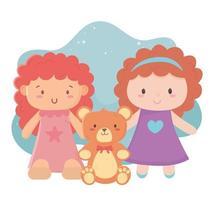 objetos de brinquedos infantis desenhos animados divertidos bonecos fofos e ursinho de pelúcia vetor