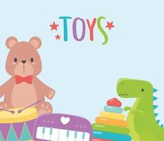 brinquedos infantis objeto desenho animado urso piano dinossauro tambor e pirâmide vetor