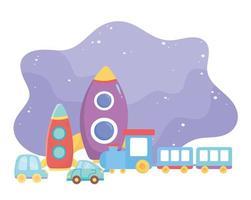 objetos de brinquedos infantis divertidos desenhos animados de carros-foguete de plástico e trem vetor