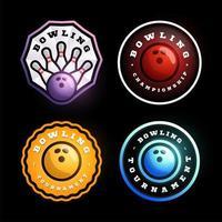 conjunto de logotipo de vetor circular de boliche
