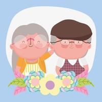 feliz dia dos avós, lindo avô, avó, decoração de flores desenho animado vetor