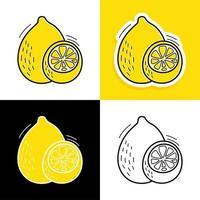 conjunto desenhado à mão limão