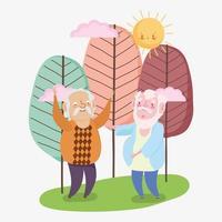 feliz dia dos avós, personagem de desenho animado fofo do avô no parque vetor