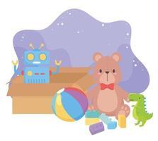 Objeto de brinquedos infantis caixa de desenho animado divertida com bola de dinossauro robô de pelúcia vetor