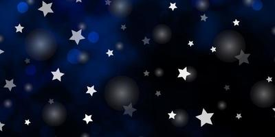 layout de vetor de azul escuro com círculos, estrelas.