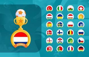 conjunto de modelos de medalhas de campeão do esporte futebol 2020 vetor