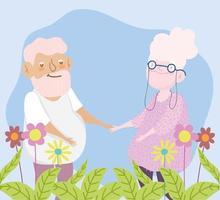 feliz dia dos avós, casal de idosos com desenho animado da natureza com folhagem de flores vetor